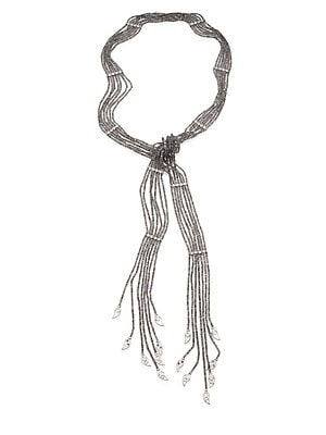 """Image of From the Vitality Collection Beaded Art Deco-style necklace with diamond paisley drops Diamonds, 1.8 tcw Labradorite Sterling silver Length, 48"""" Tie back Imported. Fine Jewelry - Fine Designer Jewelry > Saks Fifth Avenue. Coomi Silver. Color: Silver."""