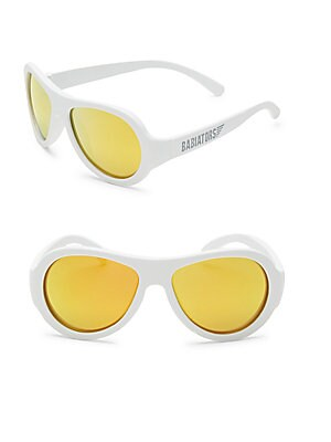 Image of Aviator sunglasses in a solid lustrous design 48mm lens width; 10mm bridge width; 115mm temple length 100% UV protection Durable, flexible frames Pad printed logo Anti-glare polarized lenses Impact and shatter-resistant polycarbonate lenses Case included
