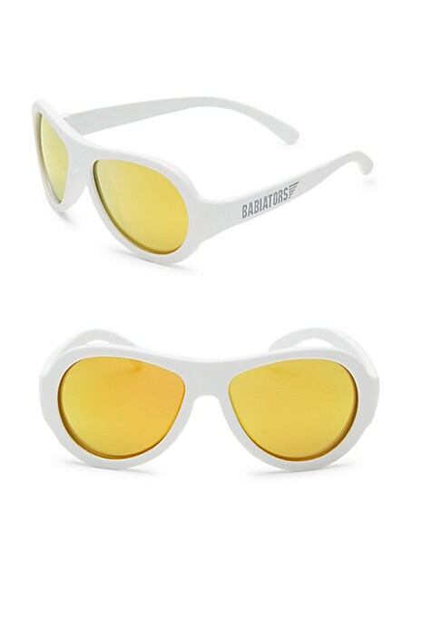 Image of Aviator sunglasses in a solid lustrous design.48mm lens width; 10mm bridge width; 115mm temple length.100% UV protection. Durable, flexible frames. Pad printed logo. Anti-glare polarized lenses. Impact and shatter-resistant polycarbonate lenses. Case incl