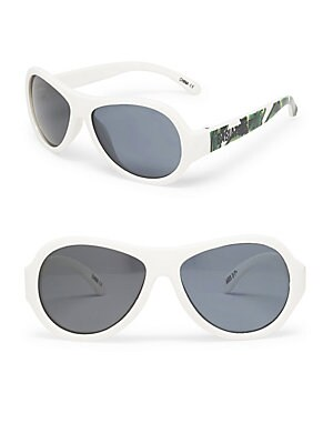 Image of Leaf-print temples elevate these sunglasses 48mm lens width; 10mm bridge width; 115mm temple length 100% UV protection Durable, flexible frames Pad printed logo Anti-glare polarized lenses Impact and shatter-resistant polycarbonate lenses Case included Th