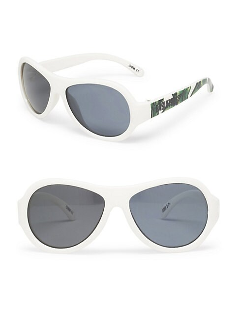 Image of Leaf-print temples elevate these sunglasses.48mm lens width; 10mm bridge width; 115mm temple length.100% UV protection. Durable, flexible frames. Pad printed logo. Anti-glare polarized lenses. Impact and shatter-resistant polycarbonate lenses. Case includ