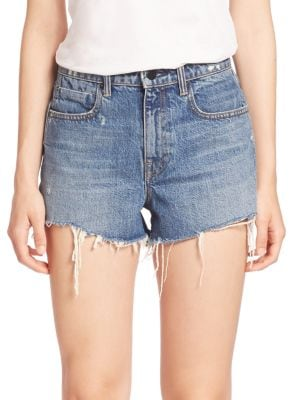 """Image of High-rise denim shorts with cool frayed hem. Belt loops. Zip fly with button closure. Five-pocket style. Frayed hem. Rise, about 12"""".Inseam, about 3"""".Cotton. Machine wash. Made in USA of imported fabric. Model shown is 5'10"""" (177cm) wearing US size 4."""