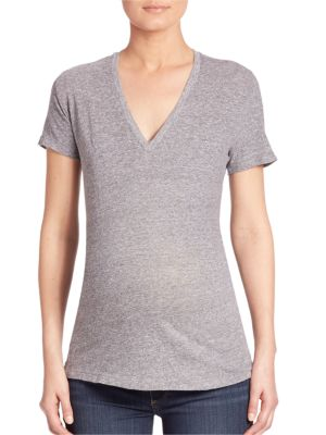 "Image of Comfy t-shirt crafted from superior cotton blend.V-neck. Short sleeves. Pullover style. About 26"" from shoulder to hem. Polyester/cotton/rayon. Machine wash. Made in USA. Model shown is 5'10"" (177cm) wearing US size Small."