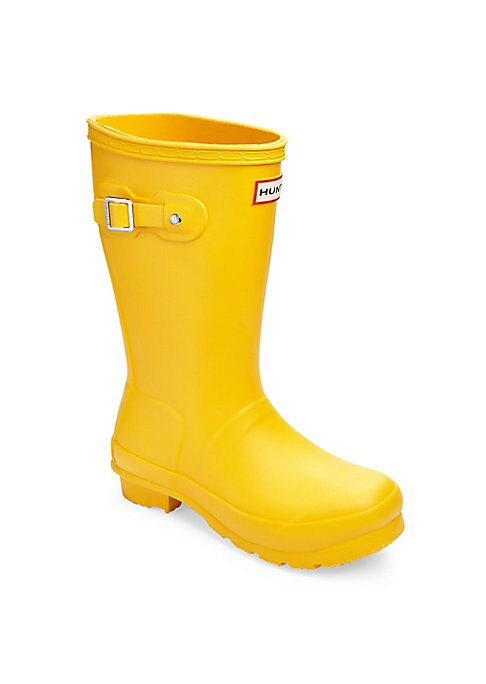 """Image of Waterproof boots featuring traction-enhancing sole. Shaft, 11"""".Rubber upper. Buckle detailing at sides. Slip-on style. Nylon lining. Rubber sole. Imported."""