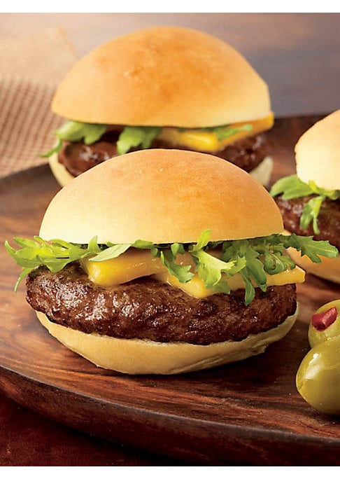 Image of Juicy and flavor-intense, these ready-to-cook Wagyu beef sliders will be an instant hit. Includes: 25 sliders. Five 10 oz packages containing five sliders. Serves: 16-25 people. Shelf life: 12 months frozen, 5-7 days refrigerated. Frozen, ready-to-cook.10