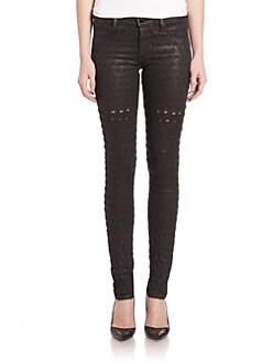 Alveoles Coated Honeycomb Skinny Jeans BLACK. Product image