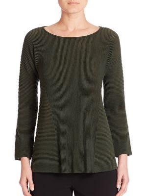 Fine Gauge Merino Ribbed Peplum Sweater by Lafayette 148 New York