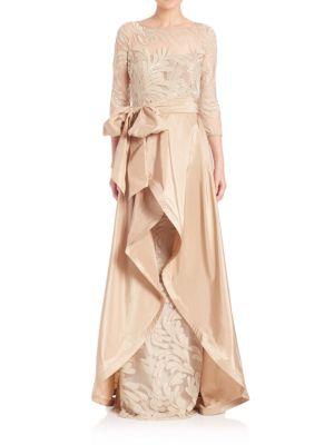 Beaded Three-Quarter Sleeve Gown