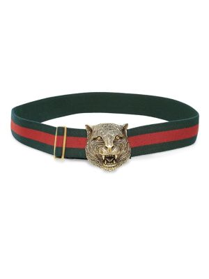 Tiger-Buckle Web Belt in Red Multi