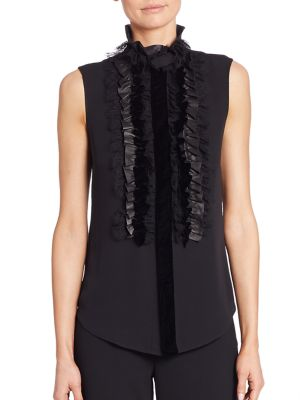 Adeena Ruffle-Bib Silk Blouse by Ralph Lauren Collection