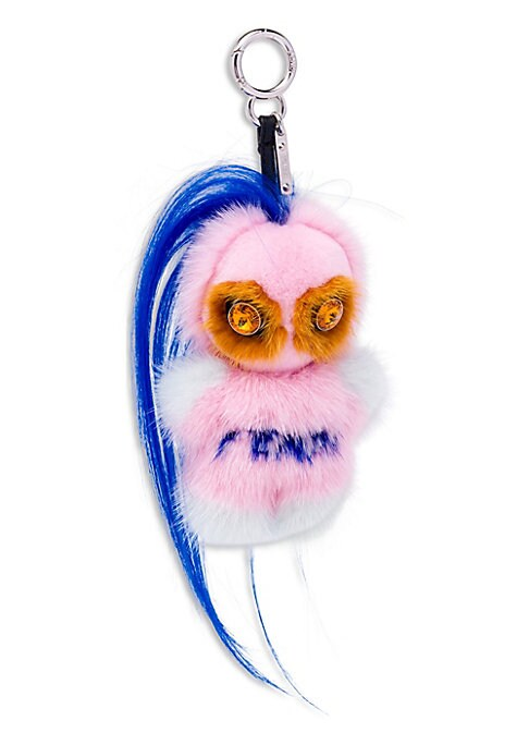 """Image of Whimsical fur accessory with crystal accents.6"""" long. Leather/crystal. Fur type: Dyed mink. Fur origin: Finland. Fur type: Dyed goat. Fur origin: China. Made in Italy."""