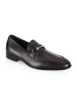 Men'S Textured Calfskin Gancini Loafer, Brown, Hickory