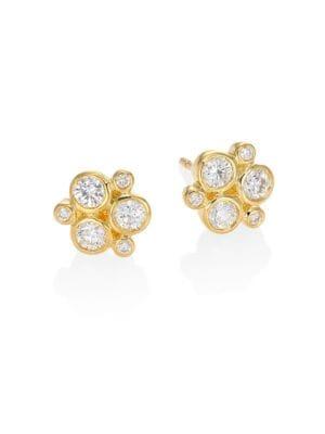 TEMPLE ST. CLAIR Classic Trio Diamond & 18K Yellow Gold Stud Earrings