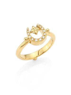 Image of Mini Horseshoe Diamond & 18K Yellow Gold Ring