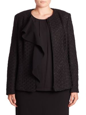 Metallic Tweed Ruffle Jacket plus size,  plus size fashion plus size appare