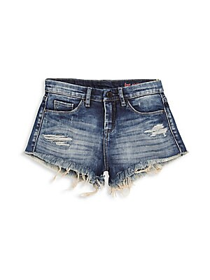 Image of A breezy pair of shorts in a distressed finish Belt loops Zip fly with button closure Five-pocket style Frayed hem Cotton/spandex Machine wash Imported. Children's Wear - Contemporary Children. Blank NYC. Color: Medium Wash. Size: 14.