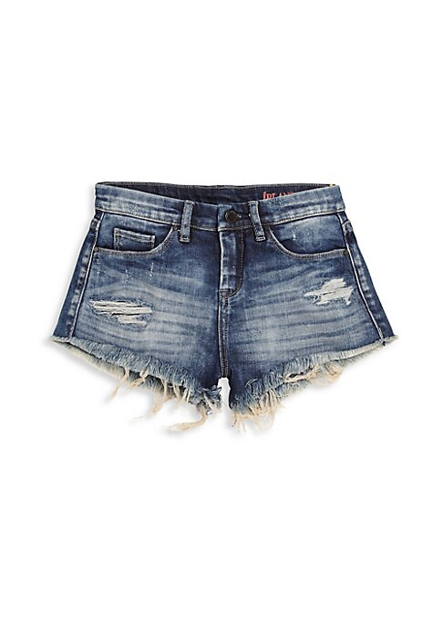 Image of A breezy pair of shorts in a distressed finish. Belt loops. Zip fly with button closure. Five-pocket style. Frayed hem. Cotton/spandex. Machine wash. Imported.