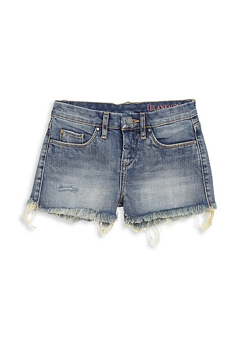 Image of Jean shorts with bold frayed hemline. Belt loops. Zip fly with button closure. Five-pocket style. Frayed hem. Cotton/spandex. Machine wash. Imported.