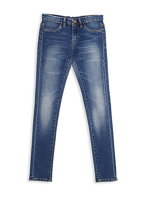 Image of Comfy tapered jeans with whiskered and faded detailing. Belt loops. Zip fly with front button closure. Four-pocket style. Tapered legs. Cotton/polyester/spandex. Machine wash. Imported.
