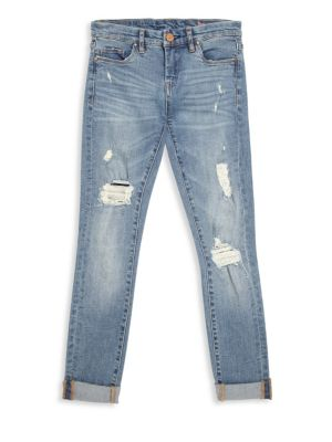 Girl's Folded Cuffs Jeans