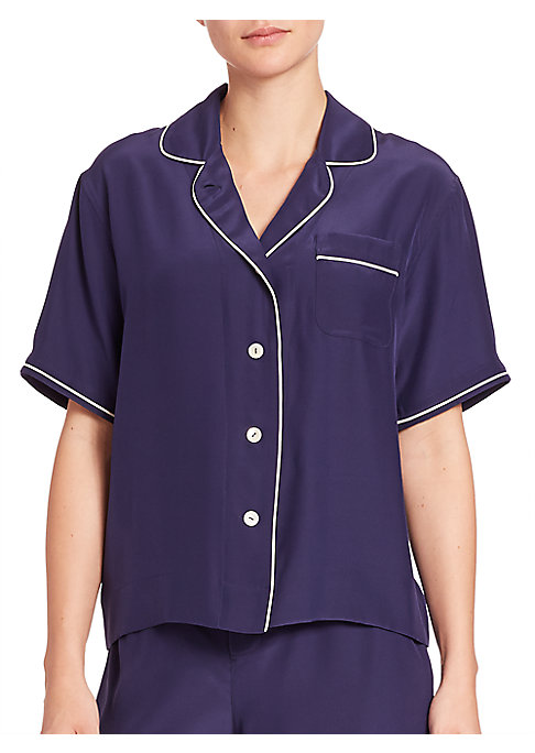 """Image of Short-sleeve sleep staple in sumptuous silk. Notched lapels. Short sleeves. Button front. Front patch pocket. Contrast piping. About 25"""" from shoulder to hem. Silk. Dry clean. Imported."""