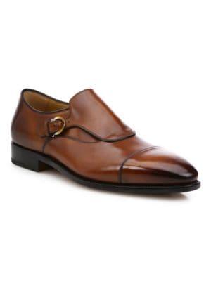 SALVATORE FERRAGAMO Leathers Faustino Leather Monk Strap Shoes