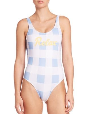BRUNA MALUCELLI One-Piece Relax Swimsuit in Blue Yellow