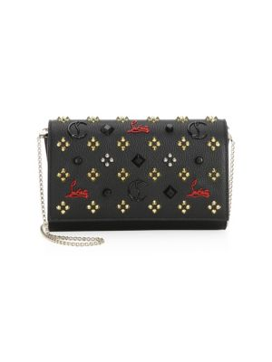 CHRISTIAN LOUBOUTIN Paloma Embellished Textured-Leather Clutch, Red