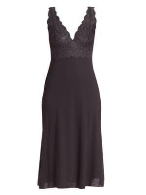 NATORI SLEEPWEAR Zen Floral Gown in Black
