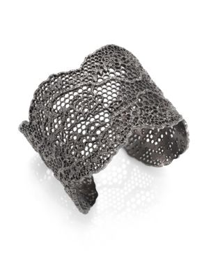 Vintage Lace Cuff Bracelet in Metallic
