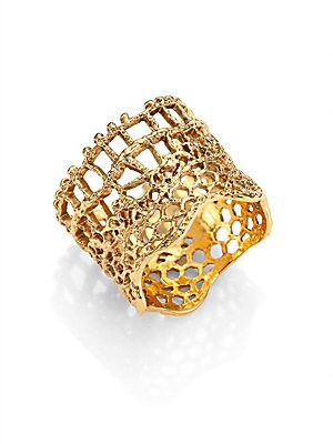 """Image of From the Lace Collection. Wide ring with vintage lace-inspired perforations. 18K goldplated brass Made in France SIZE Width, about 0.75"""". Fashion Jewelry - Modern Jewelry Designers > Saks Fifth Avenue. Aurélie Bidermann. Color: Gold. Size: 6."""