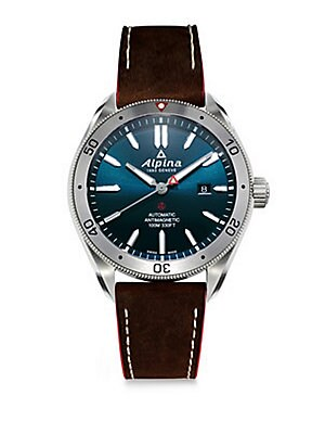 """Image of Smart suede leather straps accented by a glittery dial Automatic self-wind movement Water resistant to 5 ATM Round polished stainless steel case, 44mm (1.7"""") Designed bezel Sapphire crystal Blue dial Date display at 3 o'clock Stick indices Second hand Lea"""