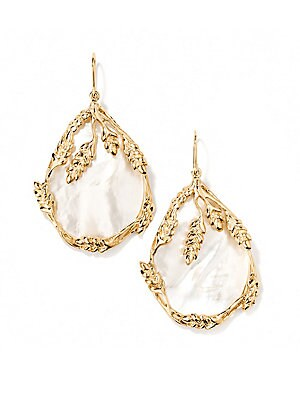 """Image of From the Françoise Collection Scultpural wheat cobs frame mother-of-pearl drop earring Mother-of-pearl 18k yellow goldplated brass Drop, 2"""" Width, 1"""" Ear wire Made in France. Fashion Jewelry - Modern Jewelry Designers > Saks Fifth Avenue. Aurélie Biderman"""