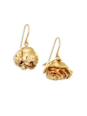 Image of From the Demetria Collection. Sculptural rose bud earring with asymmetric design.18k yellow goldplated brass. Ear wire. Made in France.