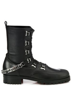 CHRISTIAN LOUBOUTIN Leathers Chain Leather Combat Boots
