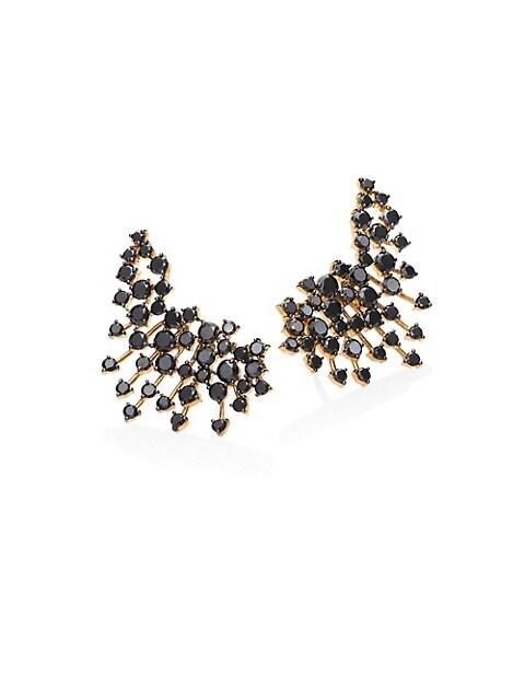 Luminus Black Diamond & 18K Yellow Gold Ear Cuffs