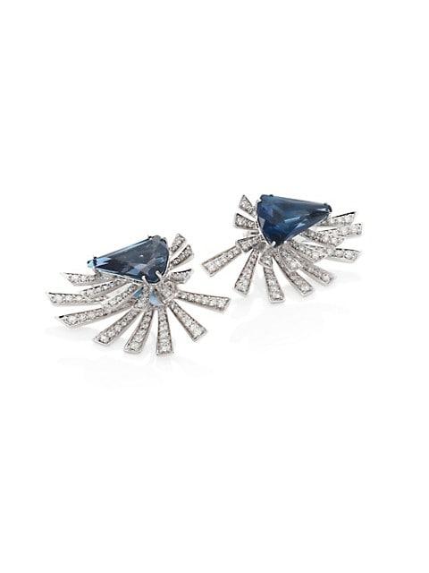 Mirage Burst Diamond, Blue Topaz & 18K White Gold Front-Back Earrings