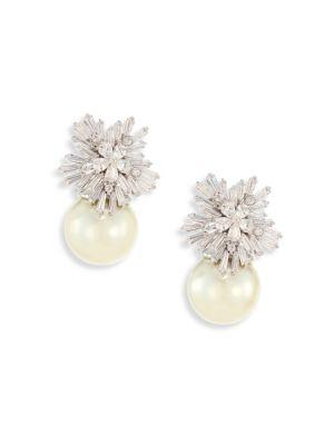 Fallon Monarch Starburst Faux Pearl Drop Earrings
