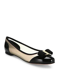 Salvatore Ferragamo Varina Net Mesh Leather Ballet Flats