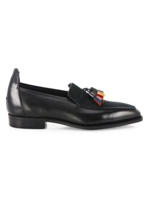 Image of EXCLUSIVELY AT SAKS FIFTH AVENUE. Statement-making loafers with multi-hued tassels. French calfskin/French calf suede upper. Plain toe. French calfskin lining. Leather sole. Made in France. Please note: Shoe trees are included