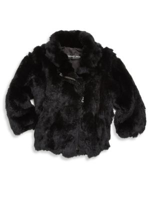 Image of Cool moto jacket crafted in plush rabbit fur. Stand collar. Long sleeves. Asymmetrical zip front. Side pockets. Fur type: Dyed rabbit. Fur origin: China. Dry clean by fur specialist. Imported.