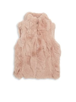 Image of Luxe zip-front vest in plush rabbit fur. Stand collar. Sleeveless. Zip front. Side seam pockets. Lined. Fur type: Dyed rabbit. Fur origin: China. Dry clean by fur specialist. Imported.