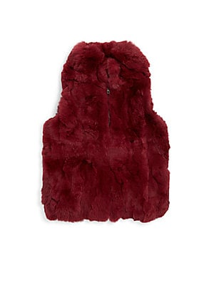 Image of Luxe zip-front vest in plush rabbit fur Stand collar Sleeveless Zip front Side seam pockets Lined Fur type: Dyed rabbit Fur origin: China Dry clean by fur specialist Imported. Children's Wear - Classic Children > Saks Fifth Avenue. Adrienne Landau. Color: