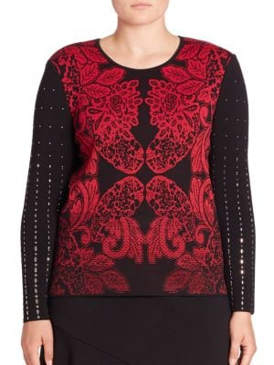 Embellished Leaf-Print Top by Stizzoli, Plus Size