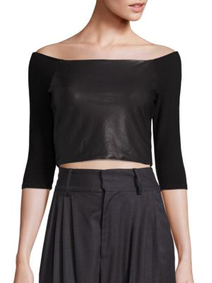 Mel Cropped Off-the-Shoulder Top by Alice + Olivia