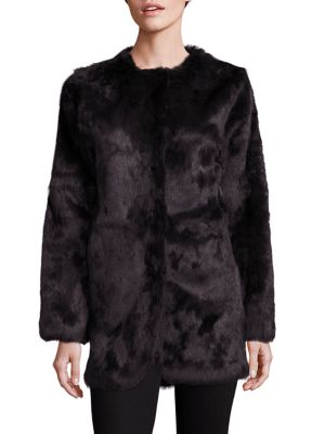 """Image of Fitted jacket cast in sumptuously soft rabbit fur. Roundneck. Long sleeves. Concealed front closure. About 30"""" from shoulder to hem. Fur type: Dyed rabbit. Fur origin: China. Dry clean by fur specialist. Imported."""