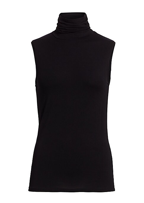 """Image of Sleeveless turtleneck top in sleek silhouette. Turtleneck. Sleeveless. Pullover style. About 25"""" from shoulder to hem. Viscose/elastane. Machine wash. Imported. Model shown is 5'10"""" (177cm) wearing size Small."""