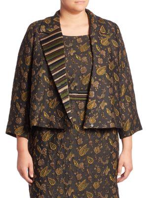 Elegante Floral Applique Jacket plus size,  plus size fashion plus size appare
