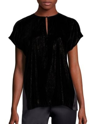 Zane Velvet Contrast Back Blouse by Lafayette 148 New York