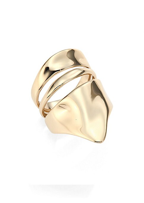 """Image of Bold armor-inspired ring with liquid-like finish. Goldtone. Width, 3"""".Diameter, 2.5"""".Made in USA."""